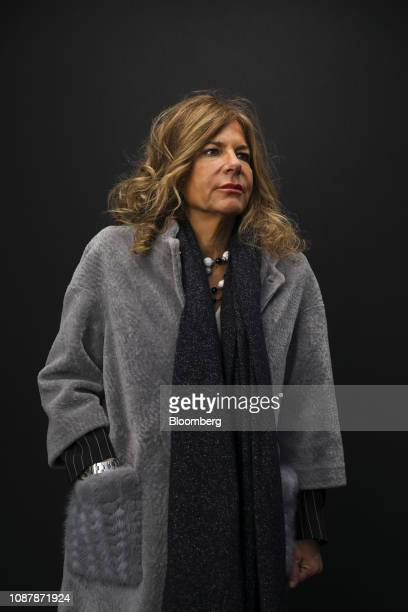 Emma Marcegaglia chairman of Eni SpA poses for a photograph following a Bloomberg Television interview on day three of the World Economic Forum in...