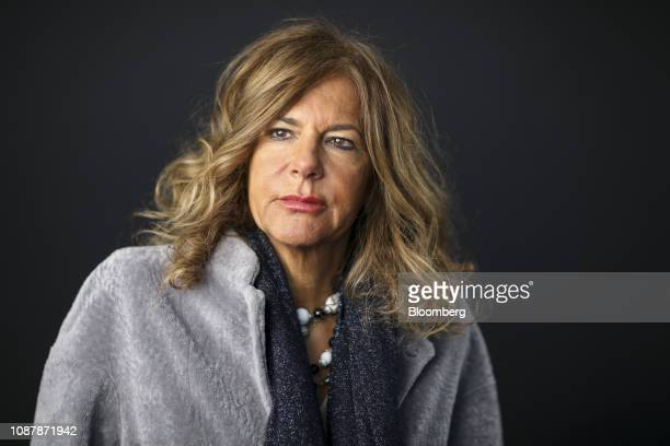 Emma Marcegaglia, chairman of Eni SpA, poses for a photograph following a Bloomberg Television interview on day three of the World Economic Forum in...