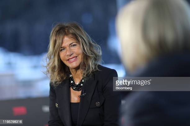 Emma Marcegaglia, chairman of Eni SpA, reacts during a Bloomberg Television interview on day two of the World Economic Forum in Davos, Switzerland,...