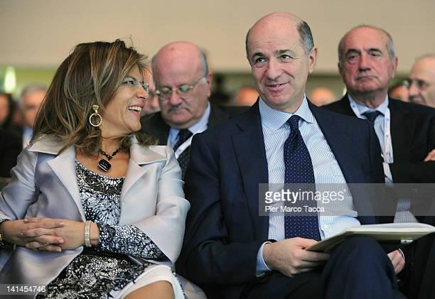 Emma Marcegaglia Confindustria President and Corrado Passera Minister of the Development Economic Infrastructures and Transports attend Confindustria...