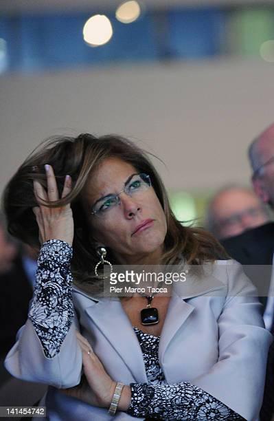 """Emma Marcegaglia Confindustria President attends Confindustria meeting """" Cambia Italia. Riforme per Crescere"""" on March 16, 2012 in Milan, Italy...."""