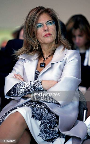 Emma Marcegaglia head of Italy's employers' association Confindustria attends the 'Reforms For Growth' conference in Milan Italy on Friday March 16...