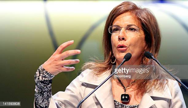 Emma Marcegaglia, head of Italy's employers' association Confindustria, speaks during the 'Reforms For Growth' conference in Milan, Italy, on Friday,...