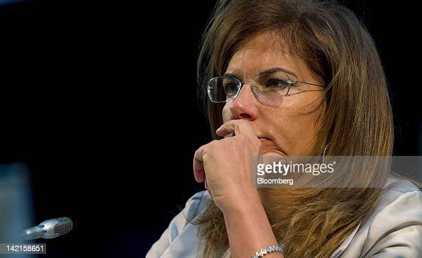 Emma Marcegaglia head of Italy's employers' association Confindustria listens during a television interview at the Ambrosetti Workshop in Cernobbio...
