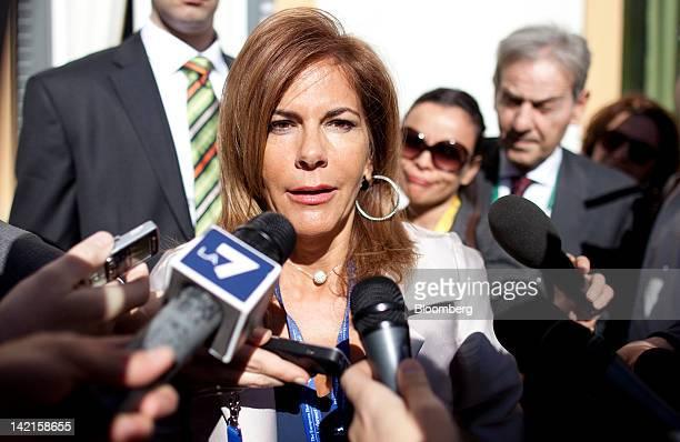Emma Marcegaglia, head of Italy's employers' association Confindustria, talks to members of the media at the Ambrosetti Workshop in Cernobbio, near...