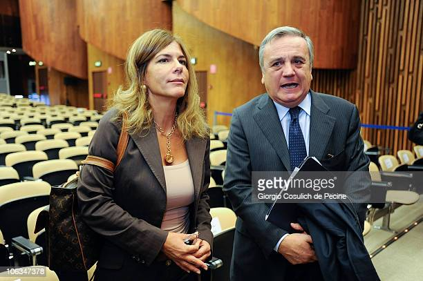 Emma Marcegaglia head of the Italian employers lobby the Confindustria and Italian Minister of Work and Social Policy Maurizio Sacconi attend the...