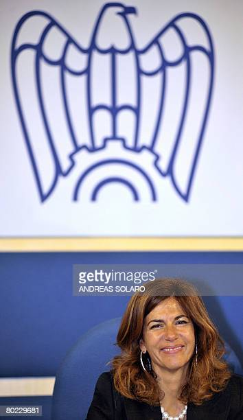Emma Marcegaglia, newly elected president of Italy's Confindustria national employers' association, smiles during a joint press conference in...