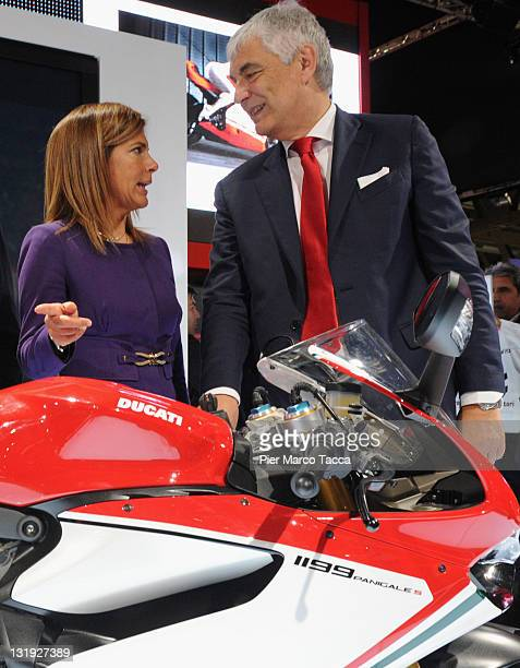 Emma Marcegaglia President of Confindustria and Gabriele Del Torchio CEO of Ducati at the EICMA 2011 69th International Motorcycle Exhibition on...