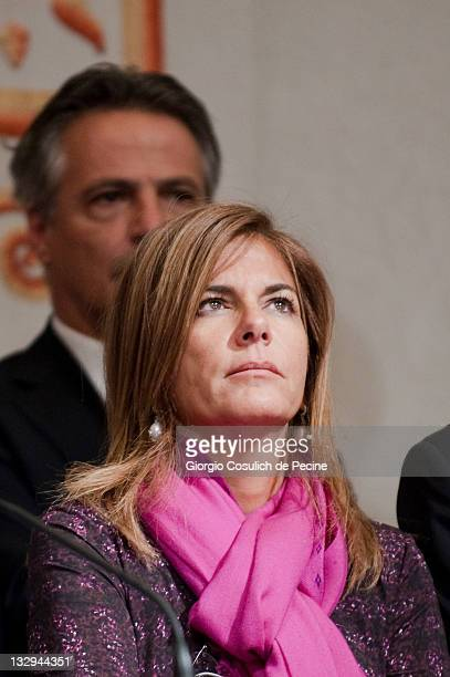 Emma Marcegaglia President of Confindustria attends a press conference after the consultations with Mario Monti the new appointed Italian Prime...