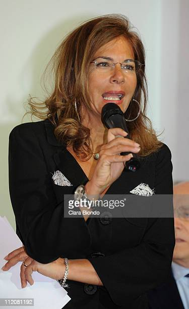 Emma Marcegaglia president of Confindustria attends the 2011 Salone Internazionale del Mobile opening on April 12 2011 in Rho Italy