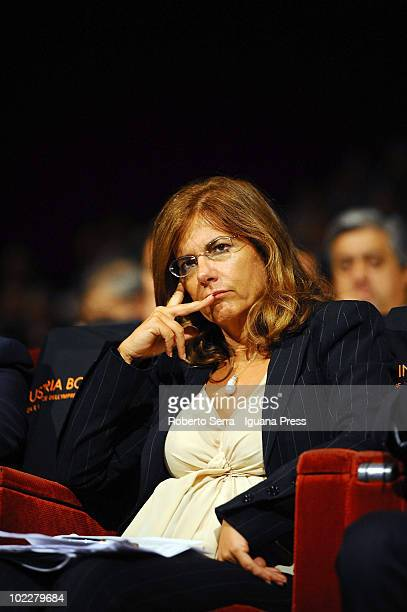 Emma Marcegaglia, President of Confindustria, listens to speakers during the Annual Assembly of Unindustria on June 21, 2010 in Bologna, Italy.