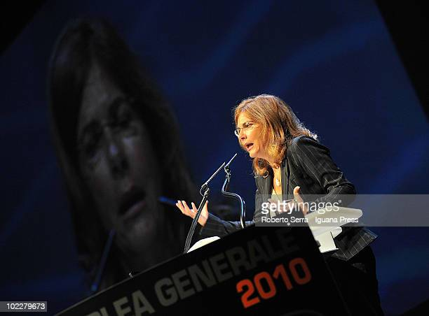 Emma Marcegaglia, the president of Confindustria, speaks during the Annual Assembly of Unindustria on June 21, 2010 in Bologna, Italy.