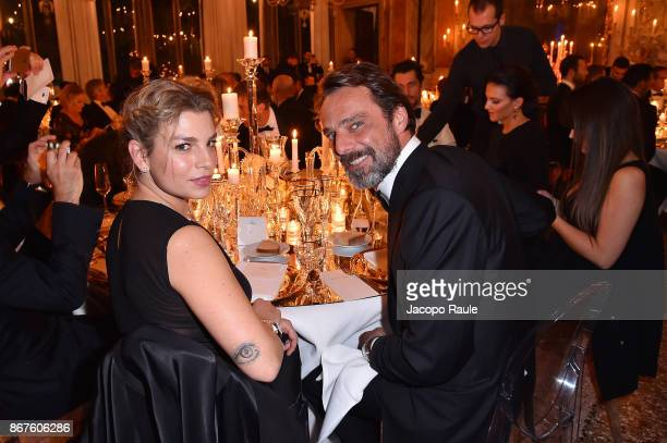 Emma Marrone and Alessandro Preziosi attend the OMEGA Aqua Terra at Palazzo Pisani Moretta on October 28 2017 in Venice Italy