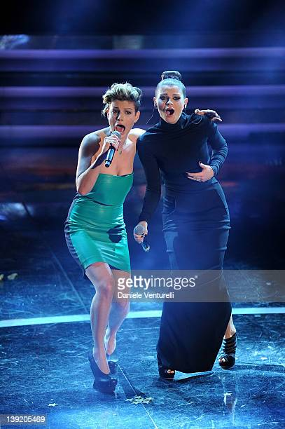 Emma Marrone and Alssandra Amoroso performs on stage at the fourth day of the 62th Sanremo Song Festival at the Ariston Theatre on February 17, 2012...