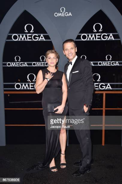 Emma Marrone and Raynald Aeschlimann attend the OMEGA Aqua Terra at Palazzo Pisani Moretta on October 28 2017 in Venice Italy