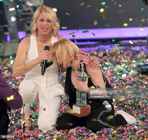 Emma Marrone and TV presenter Maria De Filippi appear on the 9th edition of the Italian TV show Amici at the Cinecitta Studios on March 29 2010 in...