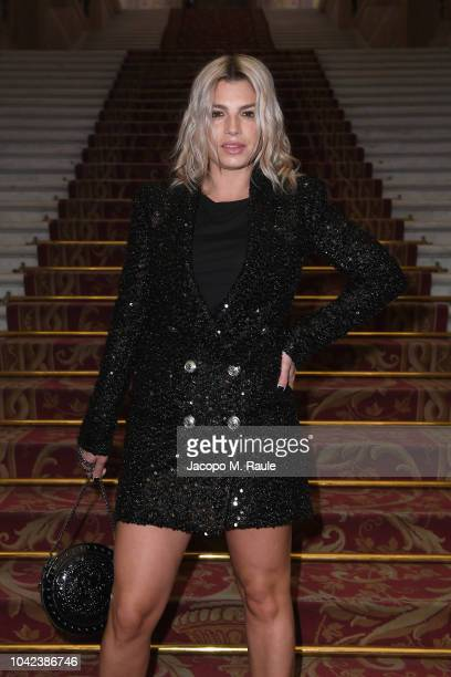 Emma Marrone attends the Balmain show as part of the Paris Fashion Week Womenswear Spring/Summer 2019 on September 28 2018 in Paris France