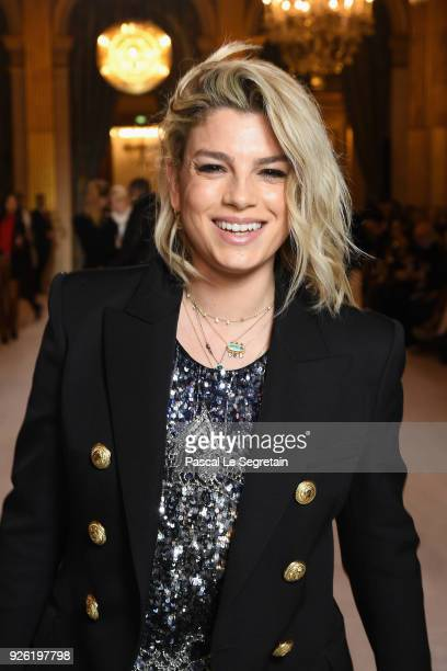 Emma Marrone attends the Balmain show as part of the Paris Fashion Week Womenswear Fall/Winter 2018/2019 on March 2 2018 in Paris France