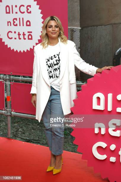 Emma Marrone attends the Every Child Is My Child photocall as part of Alice Nella Citta during the 13th Rome Film Fest at Auditorium Parco Della...