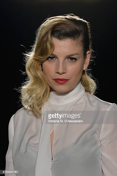 Emma Marrone attends the Francesco Scognamiglio fashion show during Milan Fashion Week Womenswear Autumn/Winter 2014 on February 19 2014 in Milan...