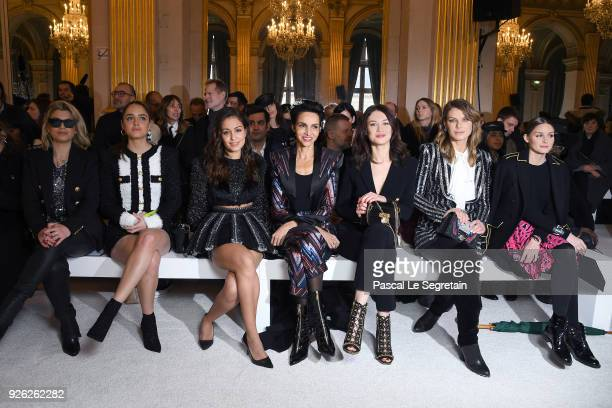 Emma Marrone Matilde Gioli Hiba Abouk Farida Khelfa Olga Kurylenko Angela Lindvall and Olivia Palermo attend the Balmain show as part of the Paris...