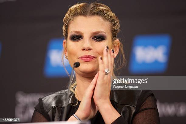 Emma Marrone of Italy attends a press conference ahead of the Grand Final of the Eurovision Song Contest 2014 on May 9 2014 in Copenhagen Denmark