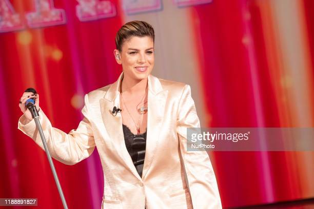 Emma Marrone performs during 'Domenica In' Tv Show at Rai Studios on December 15 2019 in Rome Italy