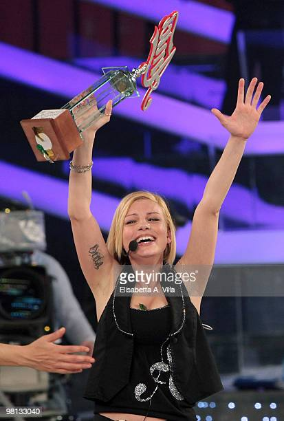 Emma Marrone shows her award during the 9th edition of the Italian TV show Amici at the Cinecitta Studios on March 29 2010 in Rome Italy