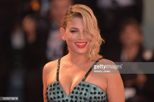 Emma Marrone walks the red carpet ahead of the 'A Star Is Born' screening during the 75th Venice Film Festival at Sala Grande on August 31 2018 in...