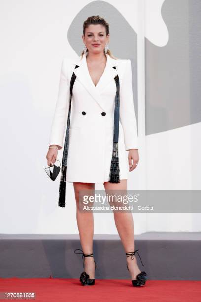 """Emma Marrone walks the red carpet ahead of the movie """"Miss Marx"""" at the 77th Venice Film Festival on September 05, 2020 in Venice, Italy."""
