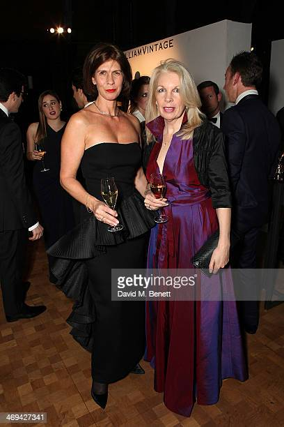 Emma Marsh and Amanda Nevill at the WilliamVintage dinner in partnership with American Express at St Pancras Renaissance Hotel on February 14 2014 in...
