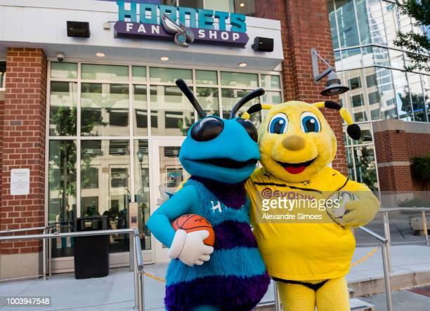Emma mascot of Borussia Dortmund meets Hugo the Hornet mascot of the Charlotte Hornets during Borussia Dortmund US Tour 2018 on July 22 2018 in...
