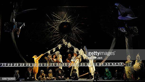 Emma Matthews as Vixen SharpEars and Emma Bell as Fox with artists of the company in the Royal Opera's production of Leos Janacek's The Cunning...