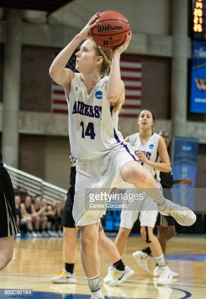 Emma McCarthy of Amherst College attempted a shot during the Division III Women's Basketball Championship held at the Mayo Civic Center on March 17...