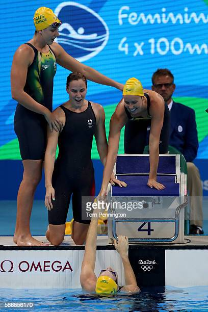 Emma McKeon Brittany Elmslie Bronte Campbell and Cate Campbell of Australia celebrate winning gold and a new world record in the Final of the Women's...