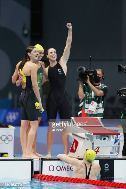 Emma McKeon, Bronte Campbell, Meg Harris and Cate Campbell of Team Australia celebrate after winning the gold medal in the Women's 4 x 100m Freestyle...