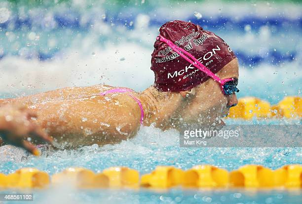Emma McKeon competes in the Women's 100m Butterfly Final during day two of the Australian National Swimming Championships at Sydney Olympic Park...