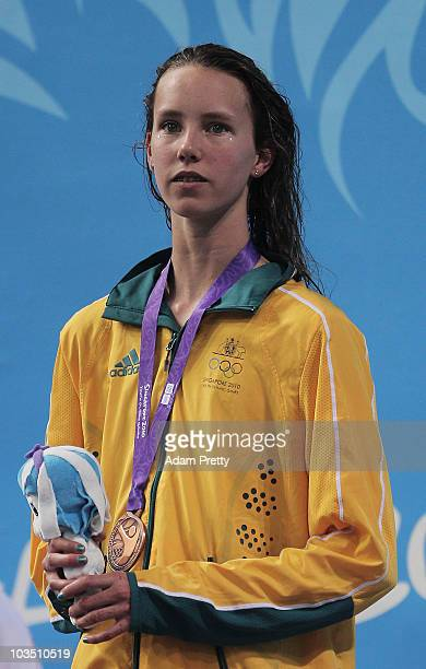 Emma McKeon of Australia after receiving her Bronze Medal in the Youth Womens 50m Freestyle final on day six of the Youth Olympics at Singapore...