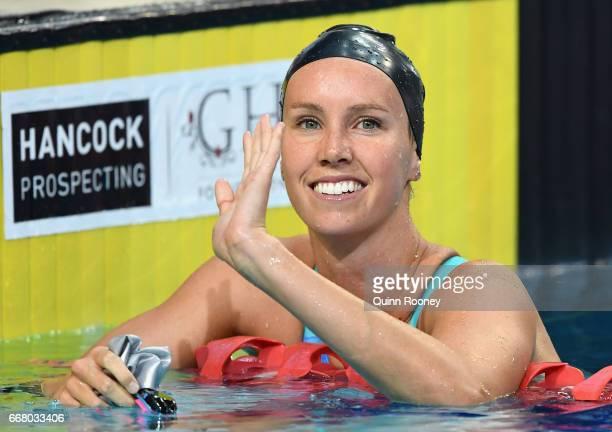 Emma McKeon of Australia celebrates winning the Women's 200m Butterfly during the 2017 Australian Swimming Championships at the Sleeman Sports...