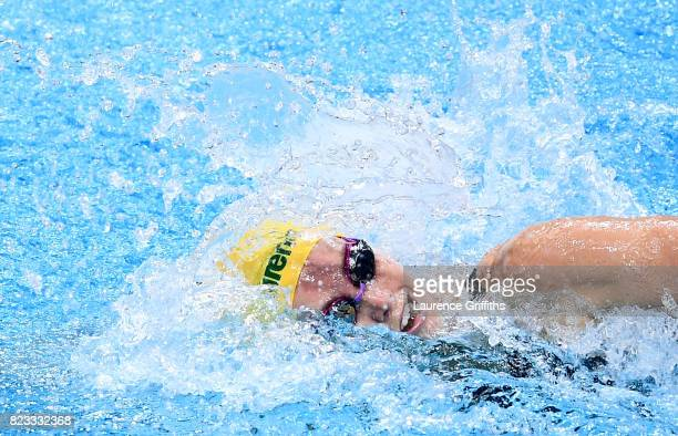 Emma Mckeon of Australia competes during the Women's 100m Freestyle Heats on day fourteen of the Budapest 2017 FINA World Championships on July 27...