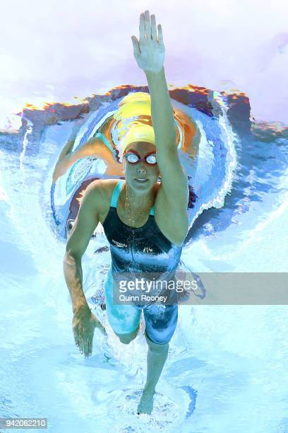 Emma Mckeon of Australia competes during the Women's 200m Freestyle Heat 3 on day one of the Gold Coast 2018 Commonwealth Games at Optus Aquatic...