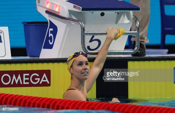 Emma McKeon of Australia competes in he Women's 100m Butterfly during day ten of the FINA World Championships at the Duna Arena on July 23 2017 in...