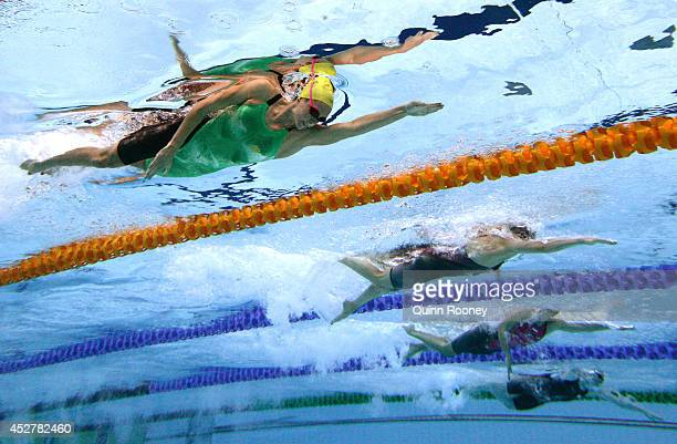 Emma McKeon of Australia competes in the Women's 100m Freestyle heat 1 at Tollcross International Swimming Centre during day four of the Glasgow 2014...