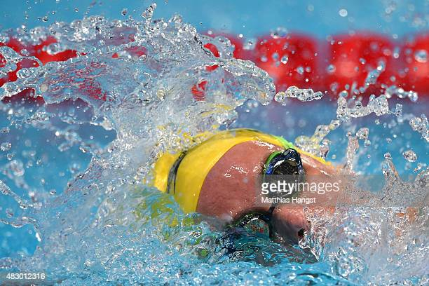 Emma McKeon of Australia competes in the Women's 200m Freestyle Final on day twelve of the 16th FINA World Championships at the Kazan Arena on August...