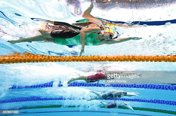 Emma McKeon of Australia competes in the Women's100m Freestyle Semi Final 1 at Tollcross International Swimming Centre during day four of the Glasgow...