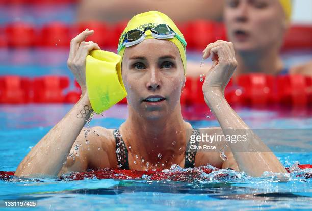 Emma McKeon of Team Australia reacts after competing in the Women's 100m Freestyle Semifinal on day six of the Tokyo 2020 Olympic Games at Tokyo...