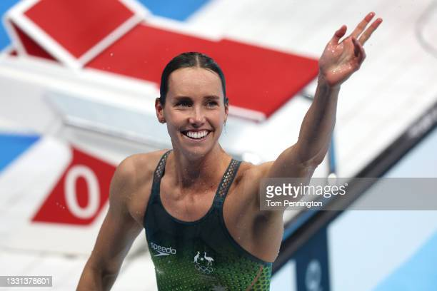 Emma McKeon of Team Australia reacts after winning a gold medal and breaking the olympic record in the Women's 100m Freestyle Final on day seven of...