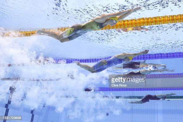 Emma McKeon of Team Australia, Sarah Sjoestroem of Team Sweden, Katarzyna Wasick of Team Poland and Ranomi Kromowidjojo of Team Netherlands compete...