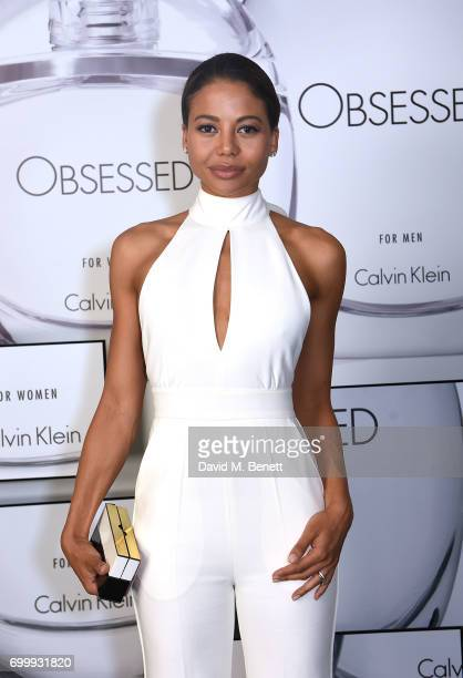 Emma McQuiston attends the Kate Moss Mario Sorrenti launch of the OBSESSED Calvin Klein fragrance launch at Spencer House on June 22 2017 in London...