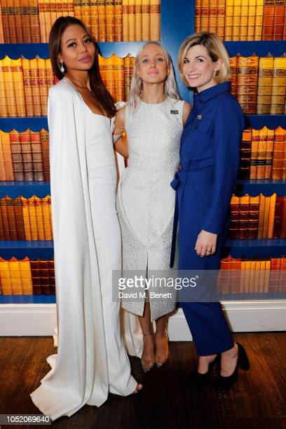 Emma McQuiston Viscountess of Weymouth Andrea Riseborough and Jodie Whittaker attend a filmmakers dinner hosted by the woman of Christina Choe's...